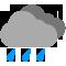 Ciel couvert avec pluies modérées